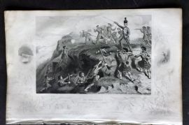 Tyrrell 1858 Crimea Print. The Highlanders attacking the Russian Redoubt, Alma